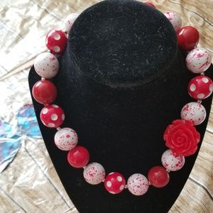 New Bubble Gum Bead Necklace White Red